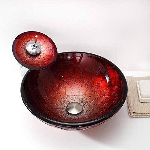 洗面ボール ラウンド強化ガラスシンクボウルアート洗面台の滝の蛇口クロームコンボ、ポップアップシンクドレイン 洗面器 (Color : Red, Size : 42.5x42.5x15cm)