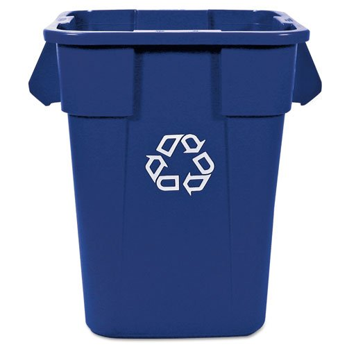 Rubbermaid Commercial Brute Recycling Container, Square, Polyethylene, 40 gal, Blue - Includes one recycling container.