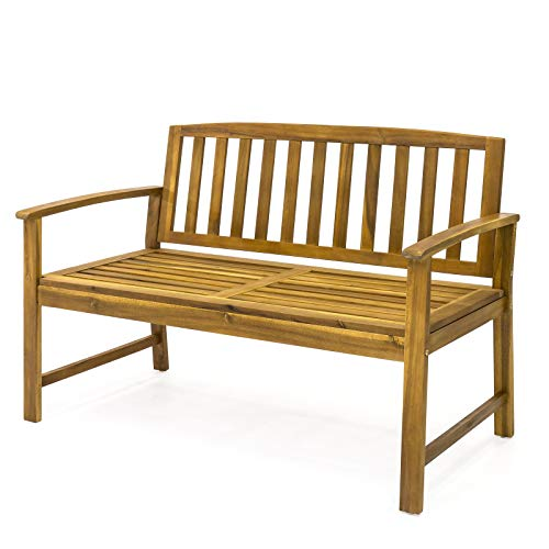 Bench Curved Garden (Picotech Acacia Wood Outdoor Garden Bench Sturdy Solid Durable Elegant Comfortable Curved Seat Armrest Slatted Back Seat Glossy Weather-Proof 450lbs Weight Capacity Park Patio Backyard Porch Loveseat)