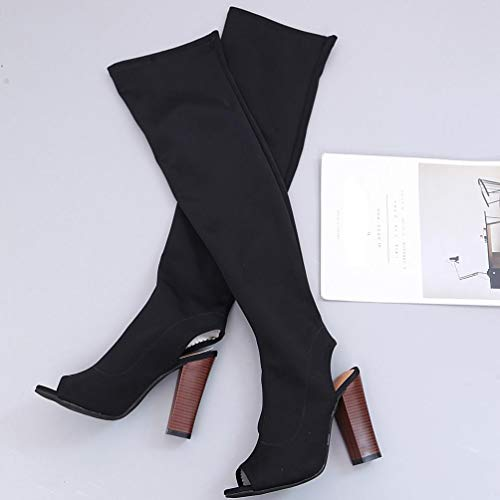 Knee Black Boots Toe High Peep Shoes FALAIDUO Women Over Winter Stretch Heels The Slim Autumn Faux Boots Retro High qxvUw8