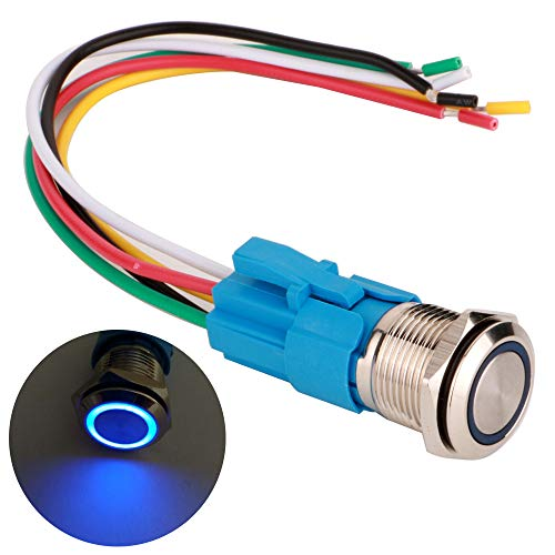16 24v Led Mm (ARTGEAR 0.63 Inch/16mm Stainless Steel Momentary Push button Switch 12V-24V LED 1NO1NC SPDT ON Off Waterproof Toggle Switch with Wire Socket Plug (Blue LED))