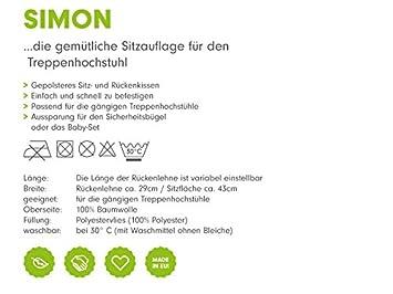 Hochstuhleinlage mit Gurtschlitz Sitzkissen mit flexibler R/ückenlehne /& L/ängeneinstellung Design:polka anthra 100 /% Baumwolle waschbar Priebes Sitzverkleinerer Simon f/ür Treppenhochstuhl