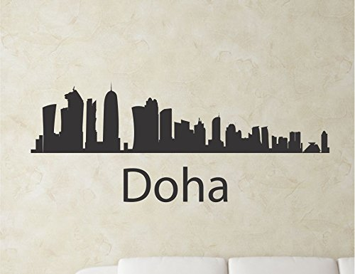 JS Artworks Doha Qatar City Skyline Vinyl Wall Art Decal Sticker]()