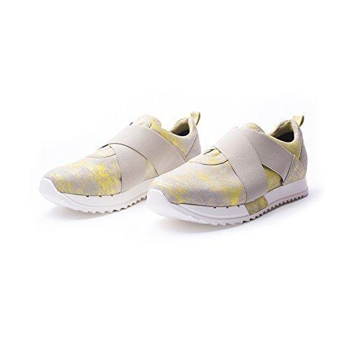 Cross Yellow Pattern (Grey and Neon Yellow Italian Leather Slip-On Sneakers Featuring Criss Cross Closing Panels, Women's Designer Handmade Footwear)