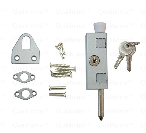 Keyed Patio Door Lock, with Steel Bolt, Aluminum (Aluminum Disk Bottom)