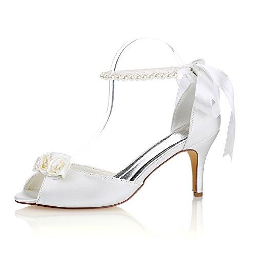 Best 4U® Zapatos de boda de las mujeres de primavera y verano de satén 8 cm de alto talones del Rhinestone de la perla de apliques de novia dama de peep-toe zapatos de suela de goma de noche sandalias
