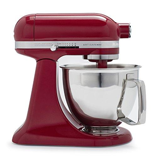 KitchenAid Artisan Mini Premium Tilt-Head Stand Mixer with Flex Edge Beater KSM3316XBK, 3.5 qt, Empire Red