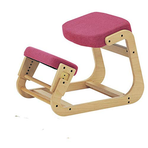 Ergonomic Kneeling Chair,Back Support Neck Pain Spine Tension Relief Posture Correcting Wooden Stool for Office Home Rocking Knee Seat with Orthopedic Soft Knee Cushions,Pink