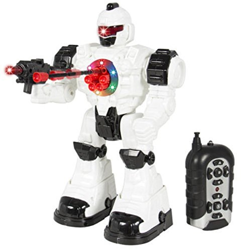 Walking Remote Control RC Shooting Robot Police Toy Lights and Sound Effects Preschool