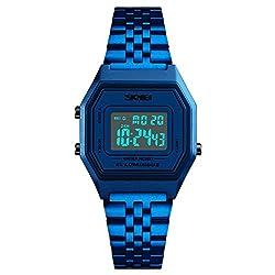 REGINALD Men's Digital Blue Stainless Steel Watch Backlight Timer Waterproof Alarm Clock LED Sports Watch (Blue)