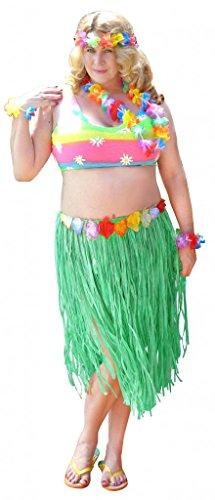 (Sanctuarie Designs Womens Hula /Top + Green Skirt + Leis Economy Kit/ Dancer Plus Size Supersize Halloween)