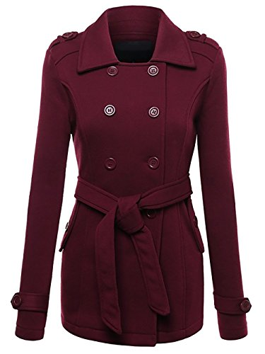 SheLady Women Double Breasted Hoodie Belted Pea Coat Long Sleeve Mid-Length Jacket (Red, XXL)