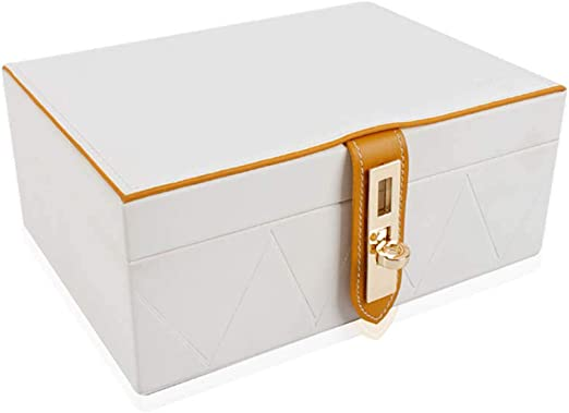 Organizadores y cajas para joyas Caja de joyería Con bloqueo Soporte de exhibición para collar Pulsera Anillo Pendiente Caja de almacenamiento Caja de almacenamiento de madera de doble capa (Color opc: Amazon.es: