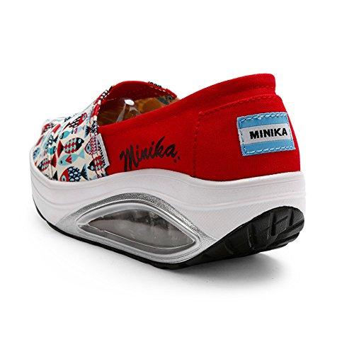 Lona para tamaño oscilación de Zapatos Gruesos 38 Color de EU FangYOU1314 Rojo Mujer Rojo Ocasionales Zapatos 7nwtBxE