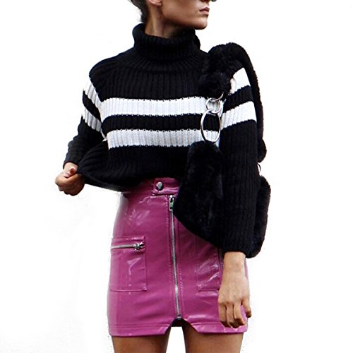 Ylangareee New Femme Zipp Jupe Cuir Moulante Haute Waist Skirt Chic Femme Sexy Mini Jupe Pink
