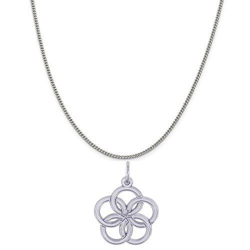Rembrandt Charms 14K White Gold Five Golden Rings of Christmas Charm on a Curb Chain Necklace, 20