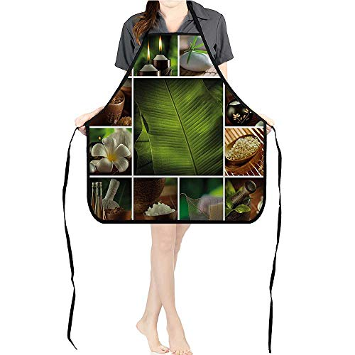 Jiahong Pan Chef Works Unisex Bib Apron Collage of Candles Stes Herbal Salts Towels and Botanic Plants Bathroom Fully Adjustable Neck Bib ApronK17.7xG26.6xB9 ()