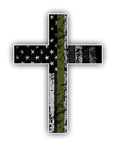 Vinyl Junkie Graphics Military Cross Us Flag Sticker Cars Trucks Laptops Etc For Honor And Support Of Our Servicemen And Troops