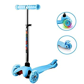 Anfan Kids Kick Scooter 2-3 Wheel Adjustable Height Mini Micro Scooter with PU LED Light Up Wheels,Lean to Steer Birthday Gifts for Toddler Boys Girls Age 1-10 Year Old