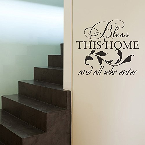 - MairGwall Family Decal - Bless This Home and All Who Enter-Home Living Room Wall Decal Religious Quote(Black, Medium)