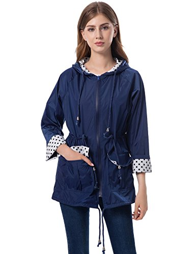 Waterproof Jacket Womens Breathable (Romanstii Lined Rain Jacket Women Waterproof Breathable Windbreaker Rain Coats for Hiking Navy Blue XXL)