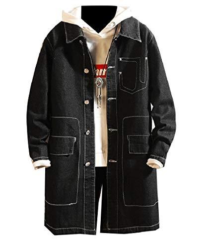 Del Casual Mogogomen Cowboy Collare Tasche Con Soprabito Nero Turn Lavati E down Bottoni T475yq4w