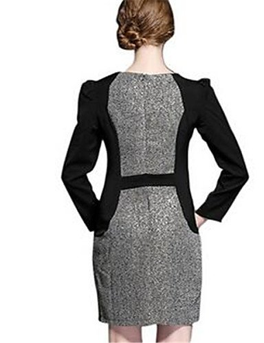 PU&PU Robe Aux femmes Ample Simple,Mosaïque Col Arrondi Au dessus du genou Polyester , black-one-size , black-one-size