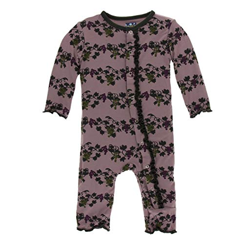 (Kickee Pants Little Girls Print Muffin Ruffle Coverall with Snaps - Raisin Grape Vines, 6-9 Months)