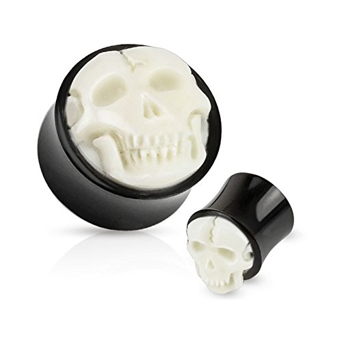 Pair Of Bone Skull Hand Carved Inlay With Organic Horn Saddle Plugs, Gauge: 1/2