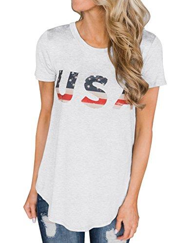 (Imily Bela Short Sleeve Graphic USA Retro American Flag Tees Patriotic Tunic Shirts White)