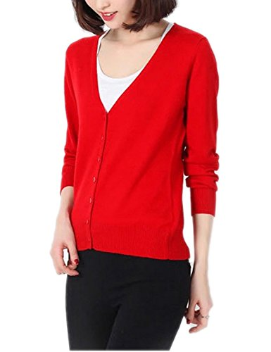 Col Winfon Longue Casual avec Rouge V Chandail Boutons Pull Gilet Cardigans Tricot Manche Femme Cardigan zxaC4zWv