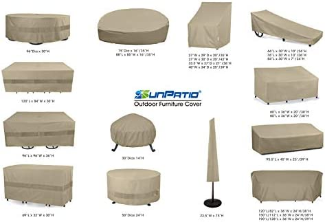 "SolarPatio Daybed Cover, Outdoor Round Canopy Daybed Sofa Cover, Heavy Duty Waterproof Patio Furniture Cover with Seam Taped, Fade Resistant Material, Helpful Air Vent, 88""L x 85""W x 35""H, Neutral Taupe"