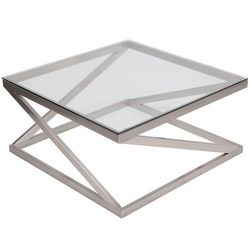 Square Glass Cocktail Table (Ashley Furniture Signature Design - Coylin Square Cocktail Table - Contemporary Style - Brushed Nickel Finish)