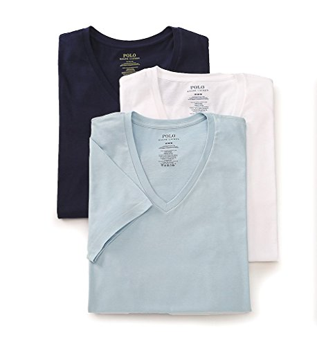 - Polo Ralph Lauren Classic V-Neck T-Shirts 3-Pack, S, Blue/White