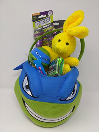 Happy Birthday Easter Basket JUMBO Kids Toddlers Gift Children Party Action Figure Pack Pre Made Eggs Goodies Candy Baskets Action Figure Toys Puzzle TMNT Teenage Mutant Ninja Turtle -