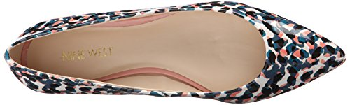 Nine West Onlee sintético del dedo del pie puntiagudo plana Blue Multi Synthetic