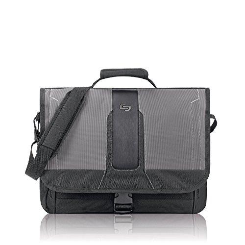 Solo Supreme 15.6 Inch Laptop Messenger, Black/Grey