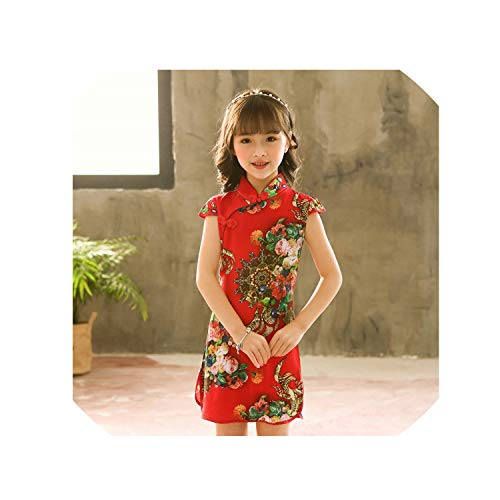 1-9Y Summer Vintage Baby Girls Dress Elegant Chinese Style Children Clothing Costume Kids Dresses for Girls Clothes,Style One,4T]()