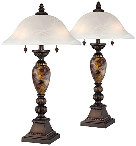 - Mulholland Bronze and Alabaster Glass Table Lamp Set of 2