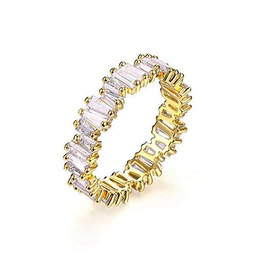 YoGe Fashion AAA Cubic Zirconia Baguette Ring,Shinning, Thin Band Ring R0377