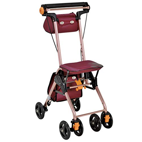 - Walkers Walker Folding Walker Portable Shopping Cart Elderly Trolley Scooter Walker Can Sit Portable Load Bearing 80kg Give The Elderly an Intimate Gift (Color : Red)