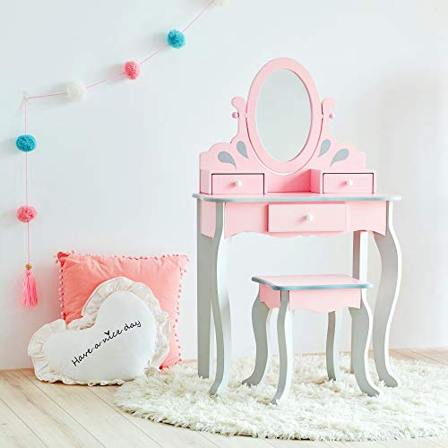 Teamson Kids Little Princess Rapunzel Kids Vanity Set with 3 Drawer and Mirror, Pink/ Grey (Vanity Pink Makeup Table)