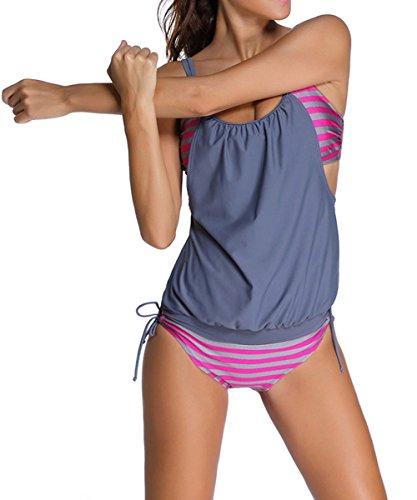 2 Grigio da Giacca Costume Doubler bagno pezzi Tankini Swimwear Aj Fashion Costume Donna n744XzH