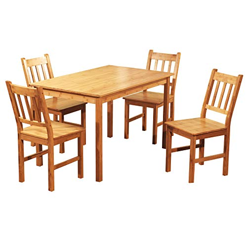 Target Marketing Systems 5 Piece Bamboo Indoor Dining Set with 1 Bamboo Table and 4 Bamboo Chairs, ()