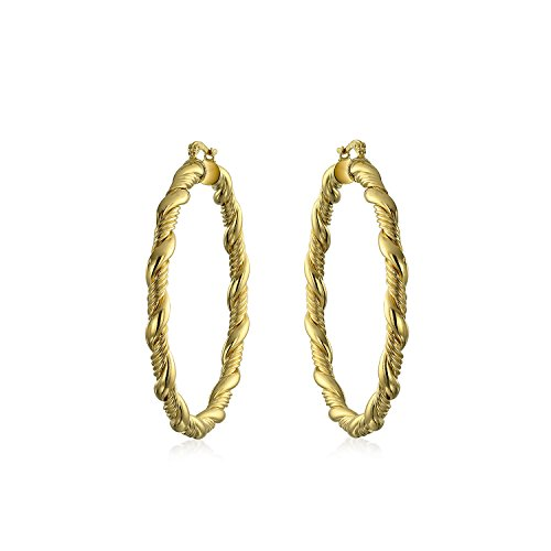 Twisted Rope Braid Cable Light Weight Hollow Large Big Hoop Earrings For Women For Teen 18K Gold Plated Brass 2.25 Inch