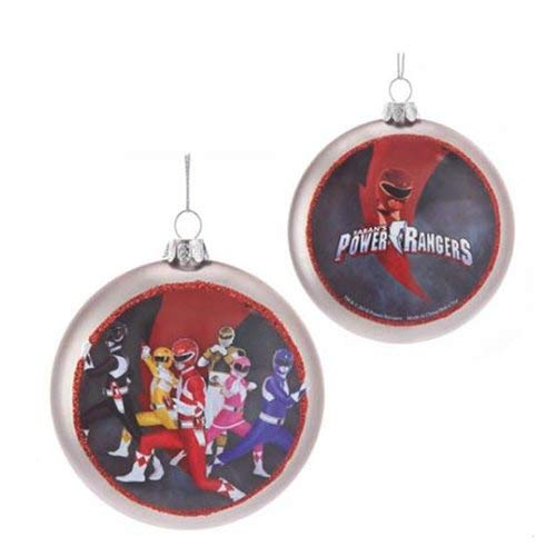 Kurt S. Adler 100MM Double-Sided Power Rangers Glass Disc Ornament -
