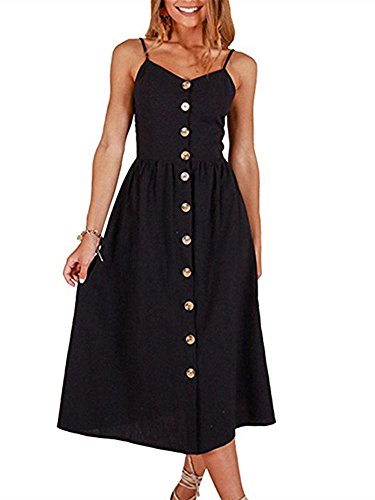 Cross Back Maxi Dress - ECHOINE Women Summer Midi Beach Dress, Solid Black, Slim Wasit