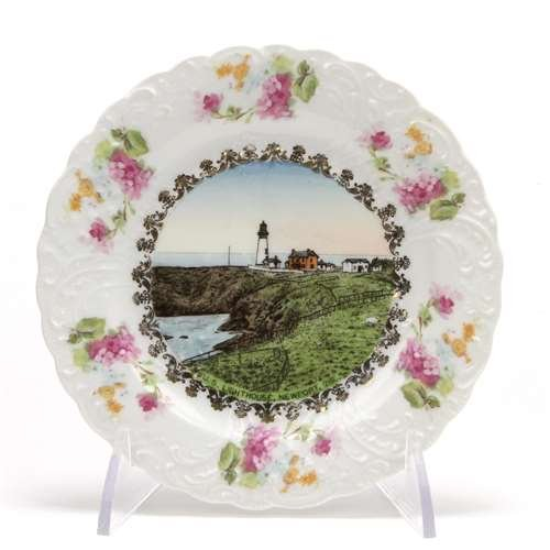 (Wheelock Collector Plate by, Porcelain, U.S. Lighthouse, Newport,)