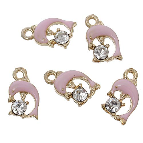 Zinc Metal Alloy Rhinestone Charm Pendants | Dolphin Gold Color Clear Rhinestone Enamel 14Mm X 9Mm (2 Pcs) ()