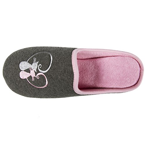 Femme Isotoner Broderie 40 Mules Chat Chaussons EU Gris 41 q44wZAC